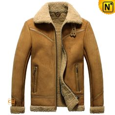 Mens Shearling WW2 Flying Bomber Real Sheepskin Warm Leather ...