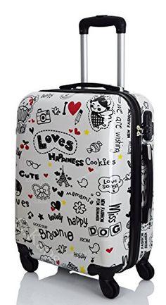 5390ffc28 G. Kaos - Trolley maleta de cabina con 4 ruedas rígida de ABS policarbonato,