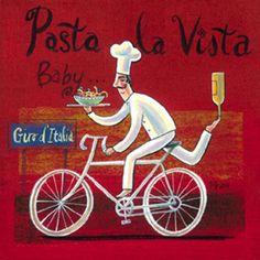 Pasta la Vista (Frans Groenewald) Classic Paintings, Original Paintings, Chefs, African Art Paintings, Bicycle Painting, South African Artists, Africa Art, Le Chef, Bike Art