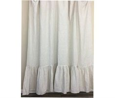 A pair of natural linen ticking striped curtains with mermaid long ruffles, extra long curtains, Country Curtains Cottage Style
