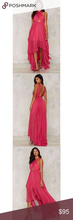 Nasty Gal Collection Criss Cross Maxi Dress Gown Like New Worn Once Smoke Free Flattering  Good Quality   Size- 12 (XL) 41 Bust▪️33 Waist ▪️43.5 Hip Perfect for night out, hs prom, evening gown, photo shoot, options endless.  PAID $188.00 plus tax and shipping   Dress is made in fucshia chiffon, with a full maxi silhouette and cascading hem.  *Criss-cross detail at front  *Cut-out at front  *Partially lined Nasty Gal Dresses Maxi