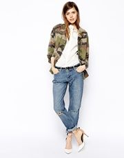 ASOS Brady Low Rise Slim Boyfriend Jeans in Mid Wash Blue with Busted Knees