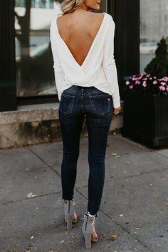 Sexy Round Neck Asymmetric Hem Backless Plain T-Shirts – Bellalike Mode Outfits, Fashion Outfits, Womens Fashion, Fashion Trends, Ladies Fashion, Fashion Ideas, Women Fashion Casual, Fashion Clothes, Trending Fashion