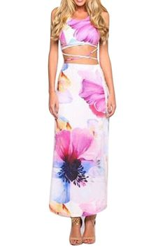Spaghetti Strap Cross Floral Print Tank Top + Long Skirt