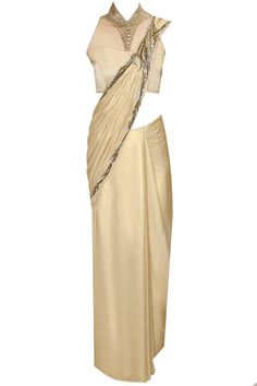 Gold bugle bead embroidered pleated sari with high collar blouse by Gaurav Gupta. Shop at: http://www.perniaspopupshop.com/designers/gaurav-gupta. #shopnow #perniaspopupshop #gauravgupta