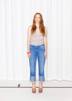 how to style flatforms  & Other Stories   Fold Denim Jeans