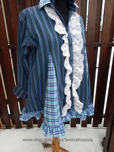 2X UpCycled Lace Tunic Dress Shirt Dresses by SwiezaKoszula