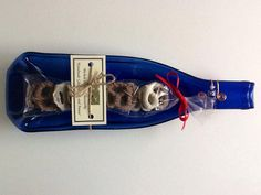 Melted Bottle  Candy Dish  Cobalt Blue by chelkay on Etsy, $15.00