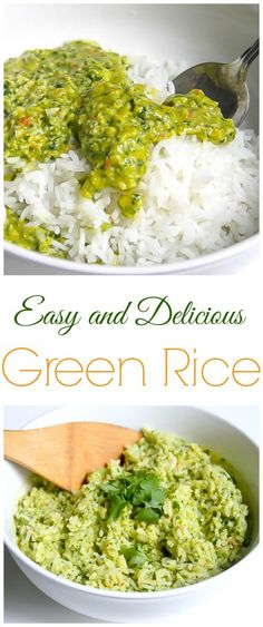 Easy and Delicious Green Rice is loaded with cilantro, lime, and jalapenos! YUM.