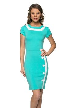 Mint Green Button Cap Sleeve Retro Inspired Fashion Dress U.S.A