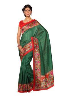 Fabdeal Indian Designer Green Bhagalpuri Silk Printed saree - List price: $30.00 Price: $20.00