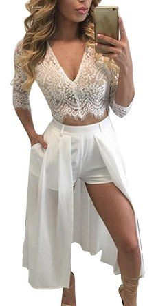 Fancyinn Women Lace V-neck Top and Short Pant Dress 2 Pieces Set Casual Style White