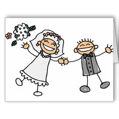Boda del dibujo animado felicitacion ༺✿ƬⱤღ  http://www.pinterest.com/teretegui/✿༻
