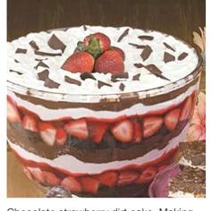 Chocolate strawberry dirt cake.