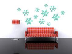 Wall Decal Snowflakes Geometric Winter Holiday Retro Mod Modern Christmas Trendy Fashion Pattern