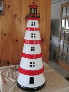This is a guide about making a terra cotta lighthouse. An inexpensive craft project made with clay pots is a lighthouse for a garden decoration.