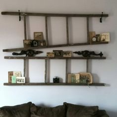 ladder wall shelves- I have an old wooden ladder and am In need of shelving above my desk. This is soooo happening!