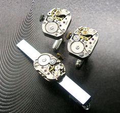 Original Steampunk Cufflinks and tie clip for by steampunkerstudio