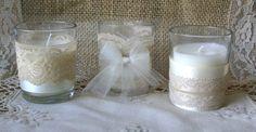 Wedding tea candles, Burlap wedding decor, 10 hour vintage wedding candless