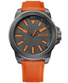 Hugo Boss Men's Boss Orange Orange Woven Nylon Strap Watch 50mm 1513010