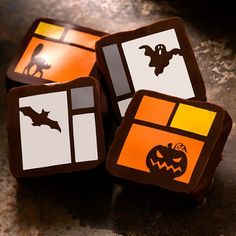 Recchiuti Confections Halloween Chocolates Motif Box - Seasonal Holiday Gifts, Fine Chocolates from San Francisco Chocolate Brands, Organic Chocolate, Raw Chocolate, Chocolate Caramels, Healthy Chocolate, Chocolate Lovers, Chocolate Desserts, Chocolate Chips, Halloween Goodies