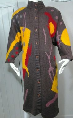 VTG 80s Macy's Mohair Long Sweater Coat Mod Op Art Graphic Vibrant Sz M in Clothing, Shoes & Accessories, Vintage, Women's Vintage Clothing | eBay