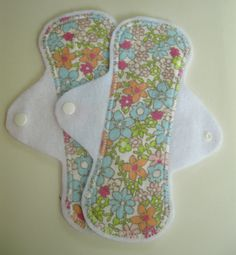 Set of 2 Flannel Floral Pantyliners - Reusable Cloth Menstrual Pads. $11.00, via Etsy.