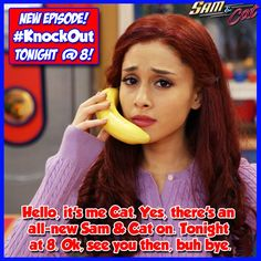 Hello, it's me Cat. Yes, there's an all-new Sam & Cat on. Tonight at Ok, see you then, buh bye. Ariana Grande 2010, Sam And Cat, Painted Toes, Cat Valentine, Best Tv, Victorious, Cats, Diaries, Tv Series