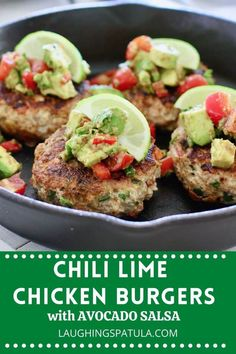 Chili Lime Chicken Burgers with Avocado Salsa! - A delicious mix of ground chicken peppers chili seasoning and fresh avocado. Use the same veggies in the burger and in the salsa for a super easy meal! Gril indoors or out. Fast Fresh and Healthy! Bhg Recipes, Lunch Recipes, Cooking Recipes, Healthy Recipes, Dinner Recipes, Cooking Tips, Breakfast Recipes, Ground Chicken Burgers, Beef Burgers