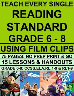 Teach EVERY reading literature and reading informational text common core state standard with film clips (Grades 6-8)! Common Core ELA Test Prep is FUN with VIDEO CLIP ACTIVITIES! Use videos to teach inferencing! Use pixar shorts to teach main idea, plot characterization! Use spoken word and speeches to teach theme! An entire year of middle school english curriculum. NO PREP secondary text bundle for reading literature and informational text standards #videostoteachinferencing
