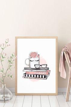Coffee Printable Wall Art Fashion Book Stack Wall Art Girl image 1 Teen Room Decor, Office Wall Decor, Bedroom Decor, Coffee Printable, Printable Wall Art, Teen Wall Art, College Dorm Decorations, 3 Piece Wall Art, Pretty Bedroom