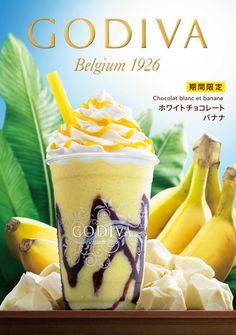 Godiva Japan - white chocolate Food Graphic Design, Food Design, Drink Menu Design, Foto Still, Bubble Milk Tea, Bakery Cafe, Food Drawing, Recipes From Heaven, Cute Food