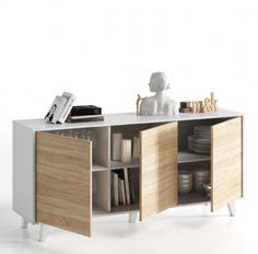 Putney Sideboard White with Oak Effect