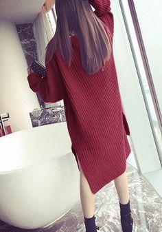 Back of girl in burgundy side-slit sweater dress