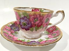 Royal Standard Tea Cup and Saucer, Carmen, Pink Tea Cups, English Bone China Antique Tea Cups Vintage
