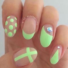 Adorably cute neon green nail art in polka dot, French tip and cross designs topped with silver beads. Green Nail Designs, Fall Nail Art Designs, Pretty Nail Designs, Short Nail Designs, Neon Green Nails, Green Nail Art, Neon Nails, Nail Design Rosa, Nail Art Design 2017