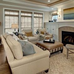 Beige and blue living room.