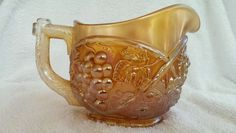 RARE Antique U.S.Glass Carnival Glass PALM BEACH Creamer~