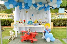 outdoor party: balloons tied to tent Prince Party Theme, Little Prince Party, Prince Birthday Party, 70th Birthday Parties, Baby Boy Birthday, The Little Prince, Balloon Arch Diy, Balloon Garland, Baby Birthday Decorations