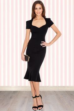Vintage Chic - 50s Demure Pencil Dress in Black
