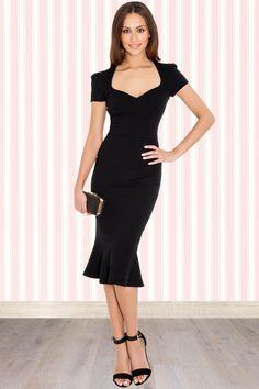 Vintage Chic - 50s Demure Pencil Dress in Black