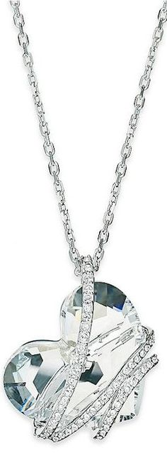 Swarovski Silver-Tone Crystal Heart Pendent Necklace