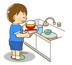 When the dishes are dirty, we put them in the sink. Infant Activities, Activities For Kids, Body Preschool, Sequencing Pictures, Cute Clipart, Cartoon Kids, Elementary Art, Life Skills, Teaching Kids