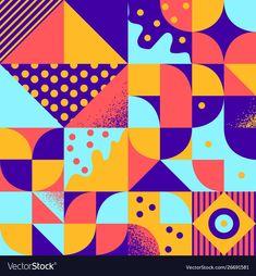Vintage retro bauhaus style seamles pattern vector image on VectorStock Geometric Graphic Design, Geometric Pattern Design, Abstract Pattern, Geometric Shapes, Bauhaus Art, Bauhaus Style, Bauhaus Design, Banner Design Inspiration, Swiss Design