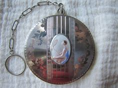 Art Deco 14K white gold front Compact Enamel Lady in the Mirror BELAIS tango compact