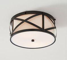 Olsen Linen Drum Indoor/Outdoor Flushmount #potterybarn Entryway from garage Mud room or butler's pantry?