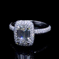 3.05 Ct. Emerald Cut Diamond Halo Micro Pave Engagement Ring - Recently Sold Engagement Rings