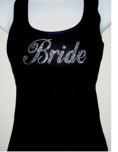 Black Rhinestone (bride) Tank Top Black Size: S M L Xl 2xl 3xl Specify Size After Purchase Dress $15