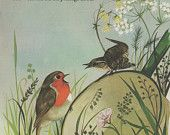 Red Robin Nursery rhyme print bird illustrationnursery decor kids bedroom