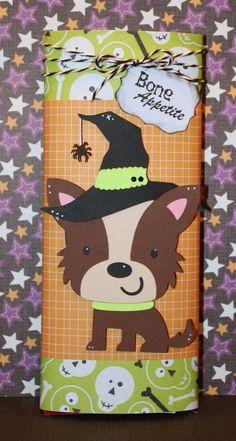 "Cricut Create-A-Critter candy bar wrapper. ""Bone appetite"" Cute idea for Hallowen candy grams"